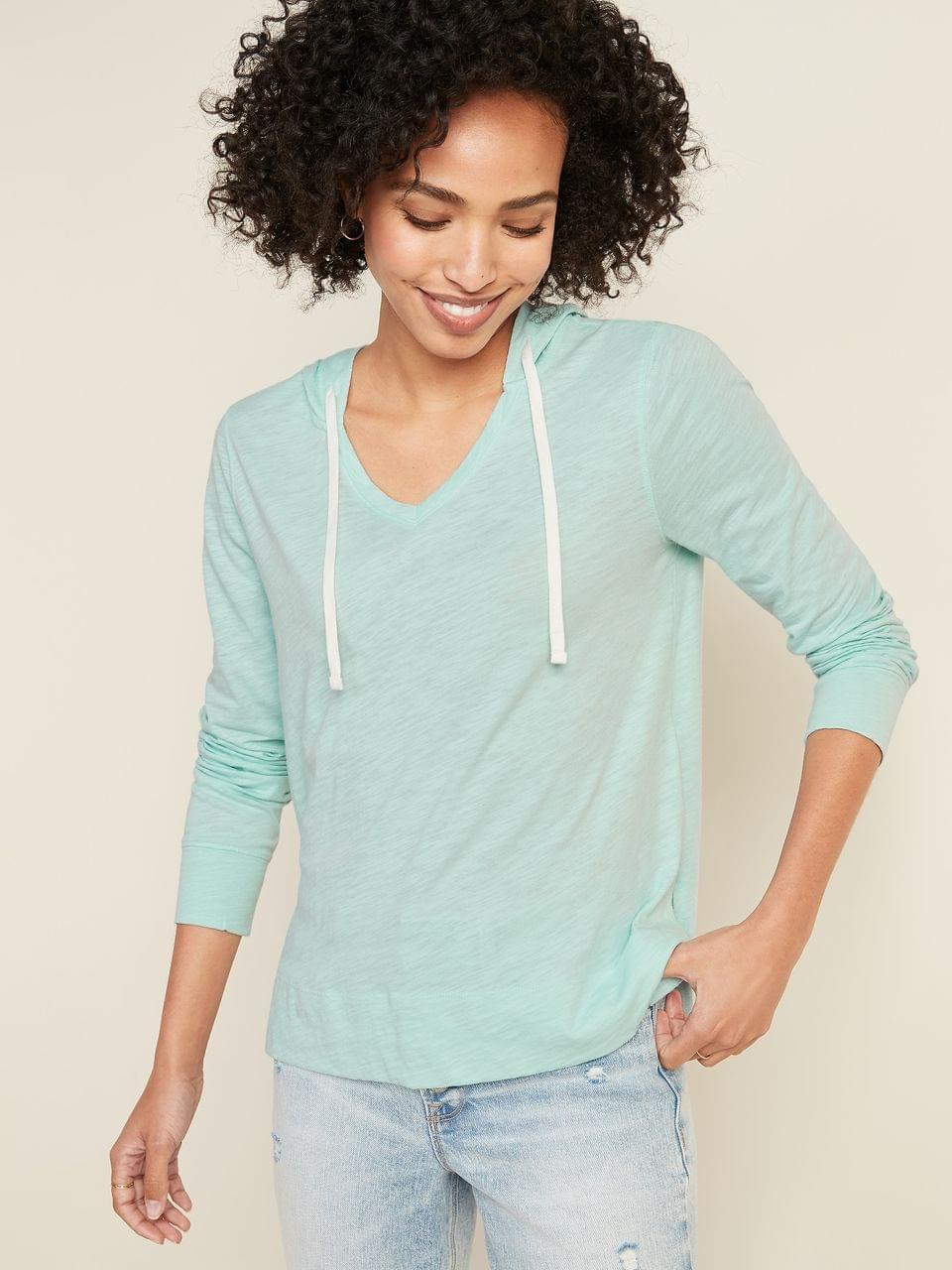Women's Relaxed Lightweight Slub-Knit Pullover Tee Hoodie for Women