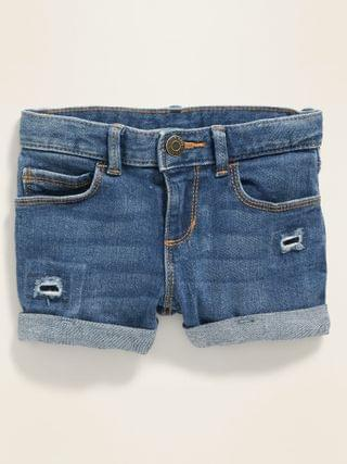 KIDS Distressed Cuffed Jean Shorts for Toddler Girls