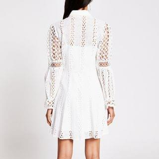 Women's White long sleeve pearl button broderie dress