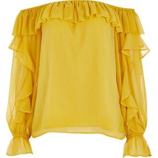 WOMEN Yellow long sleeve frill bardot top