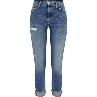 Women's Blue ripped Amelie mid rise skinny jeans