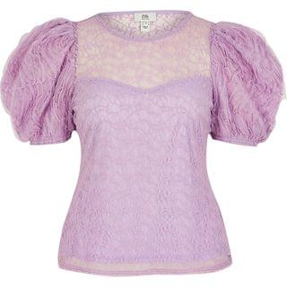 WOMEN Petite purple textured puff sleeve top