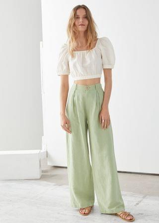 Women's Pleated High Rise Wide Trousers