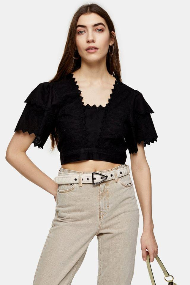 Women's Black Plain Embroidered Sun Top