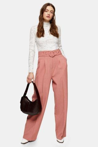 Women's Pink Circle Belted Wide Leg Pants