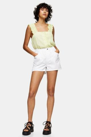 WOMEN White High Waisted Denim Pull On Shorts