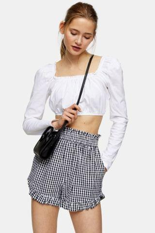 WOMEN Black and White Seersucker Gingham Shorts