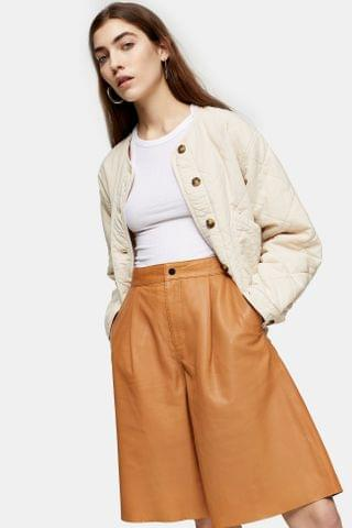 WOMEN Camel Leather Culottes