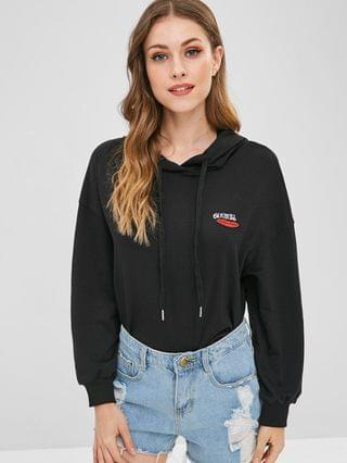 WOMEN Lip Letter Embroidered Hoodie - Black Xl