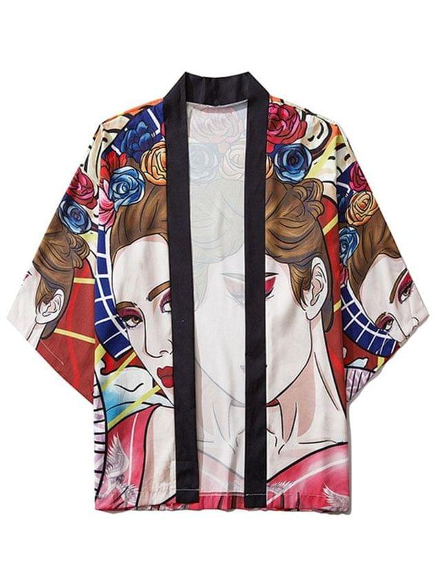 MEN Open Front Fashion Lady Print Kimono Cardigan - Multi 2xl