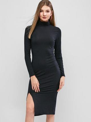 WOMEN Long Sleeve High Neck Slit Midi Bodycon Dress - Black M