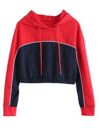 WOMEN Color Block Crop Piping Hoodie - Multi Xl
