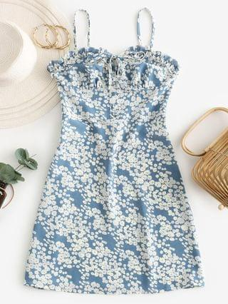 WOMEN Ditsy Floral Smocked Frilled Cami Summer Dress - Baby Blue Xl