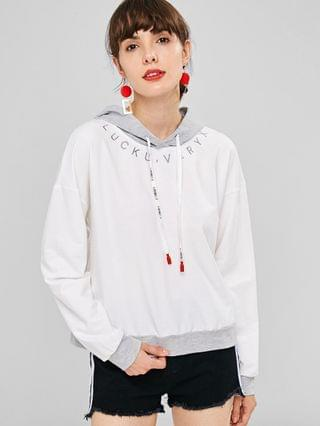 WOMEN Letter Graphic Embroidery Two Tone Hoodie - White L