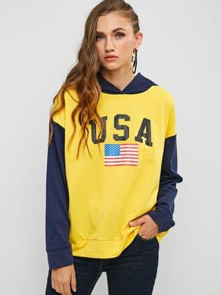 WOMEN American Flag Letter Graphic Contrast Hoodie - Multi M