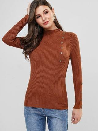 WOMEN High Neck Ribbed Buttoned Slim Sweater - Caramel