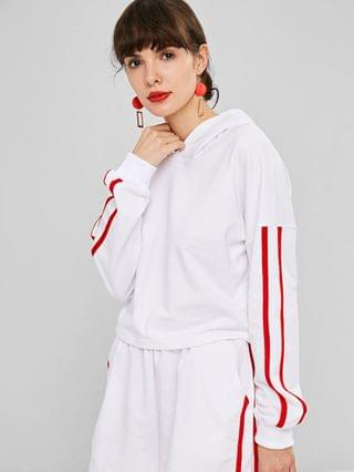 WOMEN Dropped Shoulder Side Stripe Cropped Hoodie - White L