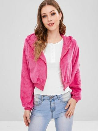 WOMEN Zip Up Crop Fluffy Hooded Jacket - Rose Red Xl
