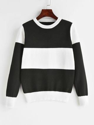 WOMEN Pullover Color Block Crew Neck Sweater - Black