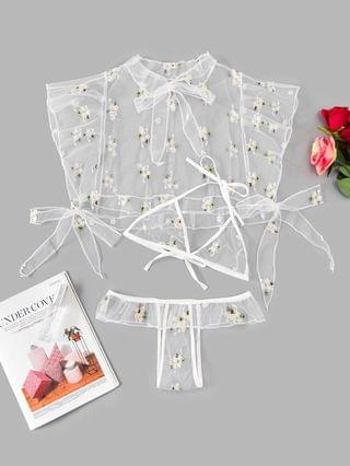 Women's Three Piece Ditsy Floral Embroidered Sheer Mesh Lingerie Set - White S