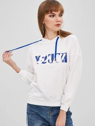 WOMEN Pullover Contrasting Graphic Hoodie - White M