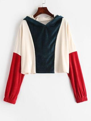 WOMEN Three Tone Corduroy Crop Hoodie - Multi Xl