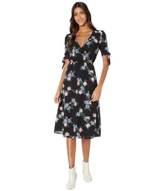 "WOMEN ""Falling For Me"" Printed CDC Midi Dress with Sleeve Ties. By Jack by BB Dakota. 79.00. Style Black."