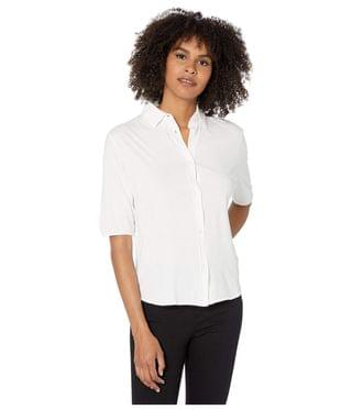 Women's Cotton Silk Hand Shirt with Back Pleat. By Majestic Filatures. 210.00. Style Blanc.