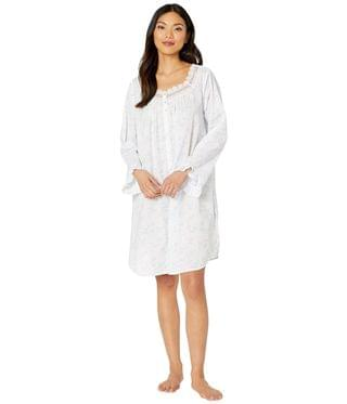 Women's Cotton Lawn Woven Long Sleeve Button Front Nightshirt. By Eileen West. 72.00. Style White Ground/Floral/Stripe.