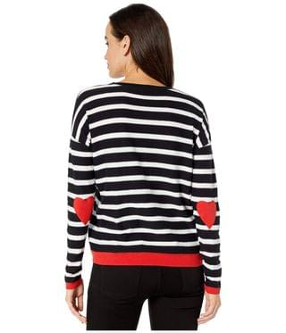 Women's Open Heart Stripe Crew Neck Sweater with Heart Elbow Patch. By Elliott Lauren. 130.00. Style Black/White.