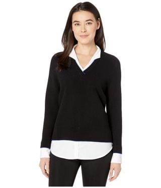 Women's Petite Mika Ribbed Twofer Sweater. By Foxcroft. 94.99. Style Black.