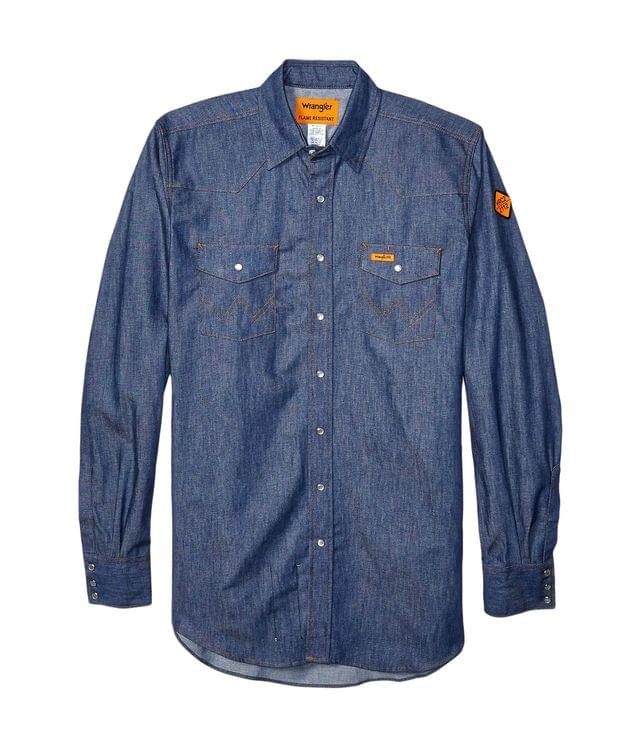 Men's Flame Resistant Long Sleeve Snap Work Shirt. By Wrangler. 85.95. Style Denim.