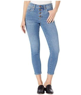 """Women's 9"""" High-Rise Skinny Crop Button Front in Dewey Wash. By Madewell. 138.00. Style Dewey Wash."""