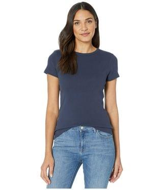 WOMEN 1x1 Rib Short Sleeve Crew Neck T-Shirt. By Lilla P. 50.00. Style Dark Navy.