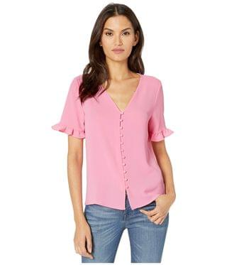 WOMEN 3/4 Sleeve Ruffled Button Down Blouse. By CeCe. 69.00. Style Pink Begonia.