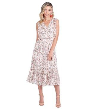 WOMEN Summer Sleeveless Faux Wrap Dress. By American Rose. 103.00. Style Ivory/Multi.