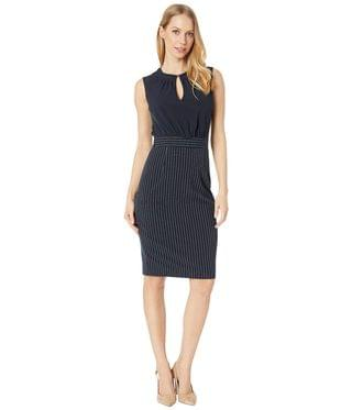 WOMEN Angilad Mockable Dress with Stripe Skirt. By Ted Baker. 265.50. Style Dark Blue.