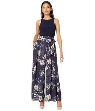 Women's Printed Chiffon and Jersey Twofer Jumpsuit. By Vince Camuto. 142.20. Style Navy Multi.