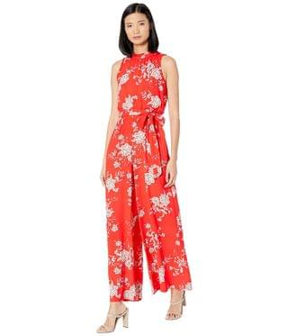 Women's Printed Crepe Wide Leg Jumpsuit with Ruffle at Neck and Armholes. By Vince Camuto. 158.00. Style Poppy.