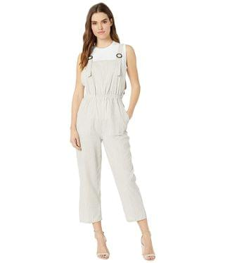 Women's Seabreeze Overall Jumpsuit. By Bishop + Young. 66.00. Style Grey Stripe.