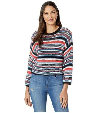 Women's Kaleidoscope Eyes Cotton Sweater with Novelty Stitch. By BB Dakota. 59.40. Style Multi Stripe.