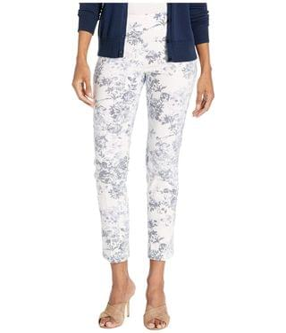 Women's Fly Front Floral Pant w/ Center Crease. By Elliott Lauren. 152.00. Style Chambray/White.