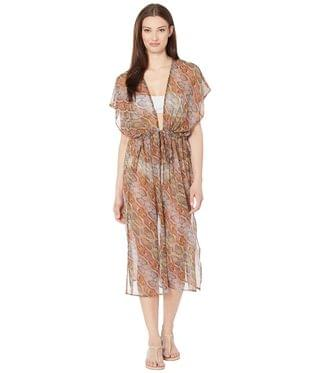 WOMEN Python Open Front Midi Dress. By Echo New York. 99.00. Style Sunset Coral.