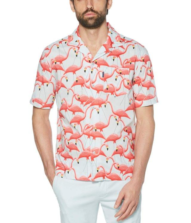 Men's Flamingo Woven Camp Shirt. By Original Penguin. 79.00. Style Ballad Blue.
