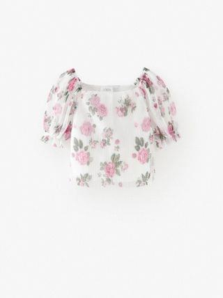 Girl's PLEATED PRINT TOP