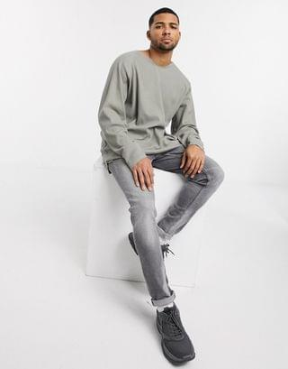 oversized waffle long sleeve t-shirt with notch neck in washed khaki