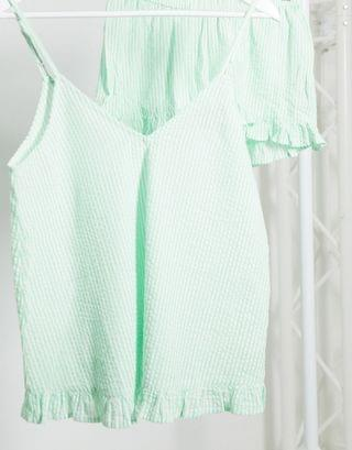 WOMEN Maternity seersucker cami & short pyjama set in mint