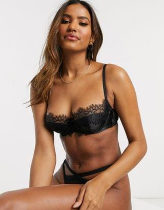 WOMEN Ann Summers Lustrous Dreams satin half cut bra with lace overlay in black
