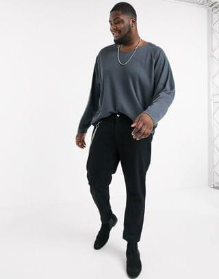 Plus oversized waffle long sleeve t-shirt with notch neck in washed black