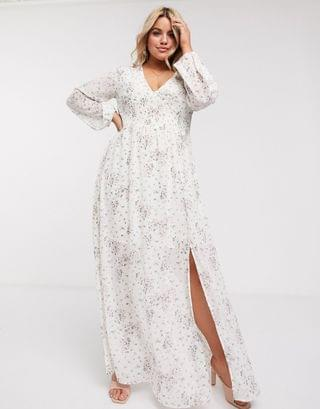 WOMEN Missguided Plus shirred maxi dress in ditsy floral print